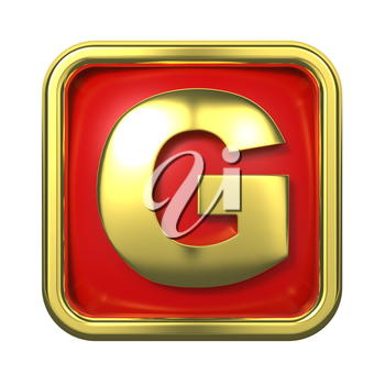 Gold Letter G on Red Background with Frame.