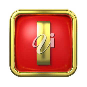 Gold Letter I on Red Background with Frame.