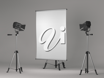Flipchart on Tripod and Studio Lighting on Grey Background.