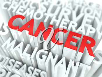 Cancer Background Design. Word of Red Color Located over Word Cloud of White Color.