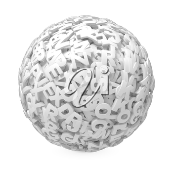 Ball from Letters Isolated on White Background.