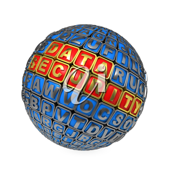 Data Security Concept. Metallic Ball with Gold Phrase Data Security and Some other Letters.