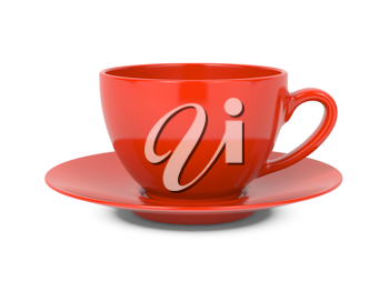 Small Red Coffee Cup Isolated on White Background.