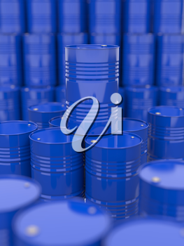 Blue Oil Barrels. Industrial Background with Selective Focus.