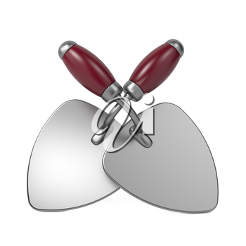 Two Crossed Construction Trowel with Red Handle. Isolated on White Background.