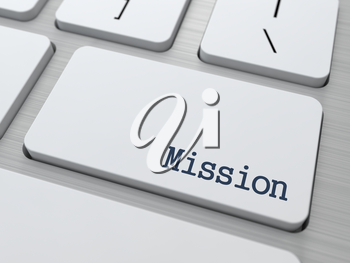 Mission Concept. Button on Modern Computer Keyboard with Word Partners on It.