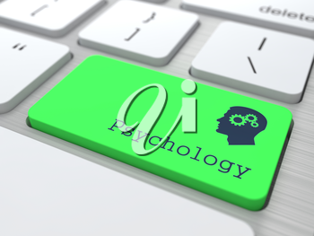 Psychology Concept. Button on Green Modern Computer Keyboard. 3D Render.