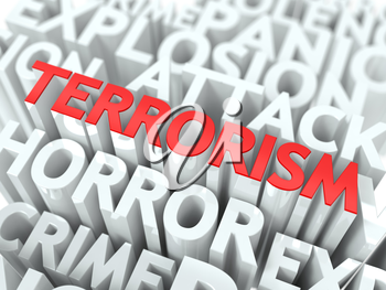 Terrorism Concept. The Word of Red Color Located over Text of White Color.