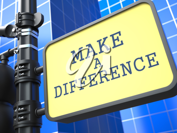 Make a Difference - Concept of Uniqueness. Waymark on Blue Background.