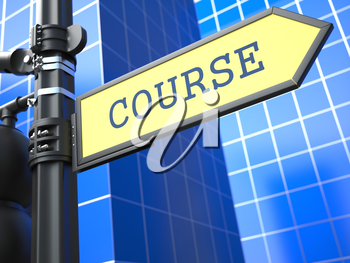 Education Concept. Course Roadsign on Blue Background.