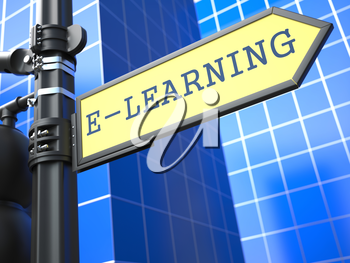 Education Concept. E-Learning Roadsign on Blue Background.