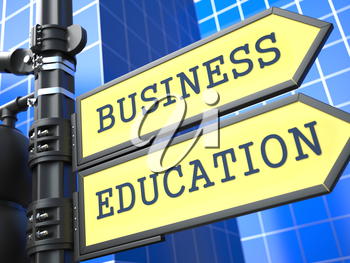 Education Concept. Business education Roadsign on Blue Background.