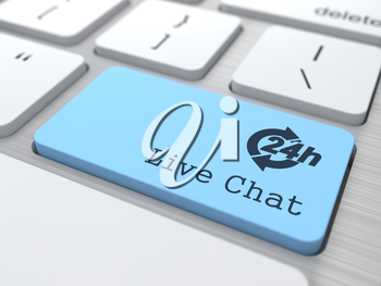 Customers Service Concept - The Blue Live Chat Button on Modern Computer Keyboard. 3D Render.