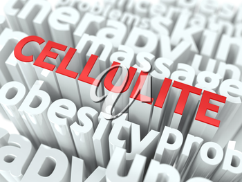 Cellulite - Wordcloud Medical Concept. The Word in Red Color, Surrounded by a Cloud of Words Gray.