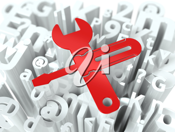 Wrench and Screwdriver Simbol on White Alphabet Wordcloud. Service Concept. Background for Your Publication or Blog.