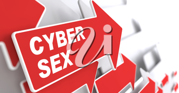 Cyber Sex Concept.  Red Arrow with Cyber Sex slogan on a grey background. 3D Render.