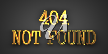 404 Not Found. Gold Text on Dark Background. Information Concept. 3D Render.