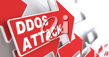 DDOS Attack.  Information Concept. Red Arrow with DDOS Attack slogan on a grey background. 3D Render.
