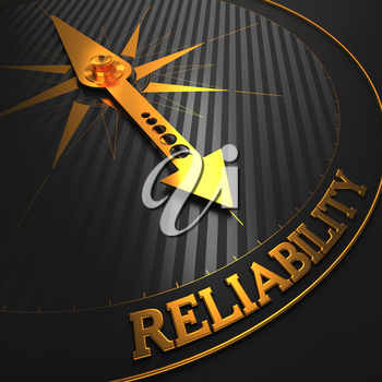 Reliability - Business Background. Golden Compass Needle on a Black Field Pointing to the Word Reliability. 3D Render.