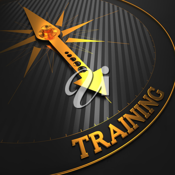 Training - Business Background. Golden Compass Needle on a Black Field Pointing to the Word Training. 3D Render.