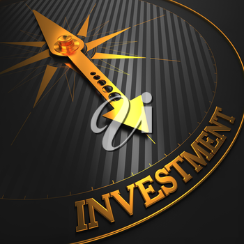 Investment - Business Background. Golden Compass Needle on a Black Field Pointing to the Word Investment. 3D Render.