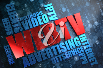 WEB TV - Wordcloud Concept. The Word in Red Color, Surrounded by a Cloud of Blue Words.