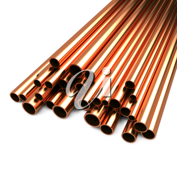 Stack of Copper Pipes Isolated on White Background.