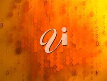 Digital Background. Pixelated Series Of Numbers Of Orange Color Falling Down on the Yellow Background.