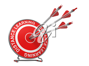 Distance Learning - Education Concept. Three Arrows Hitting the Center of a Red Target, where is Written Distance Learning.