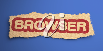 Browser Word of Rough Paper, Circled in Red, on Blue Background. Internet Concept. 3D Render.