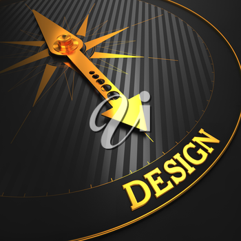Design Concept. Golden Compass Needle on a Black Field Pointing to the Word Design. 3D Render.