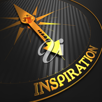Inspiration - Business Background. Golden Compass Needle on a Black Field Pointing to the Word Inspiration. 3D Render.