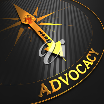 Advocacy - Business Background. Golden Compass Needle on a Black Field Pointing to the Word Advocacy. 3D Render.