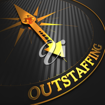 Outstaffing - Business Concept. Golden Compass Needle on a Black Field Pointing to the Word Outstaffing. 3D Render.