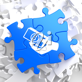 Donate Concept - Icon of Money in the Hand - Located on Blue Puzzle Pieces. Social Background.