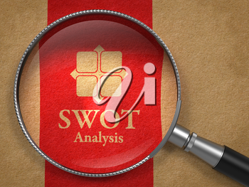 SWOT Analysis Concept: Magnifying Glass with Icon and Words SWOT Analysis on Old Paper with Red Vertical Line Background.