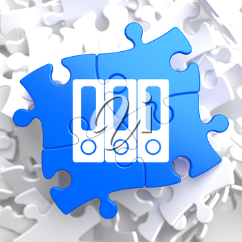 Data Concept Located on Blue Puzzle Pieces.