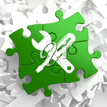 Service Concept - Icon of Crossed Screwdriver and Wrench - Located on Green Puzzle Pieces. Business  Background.