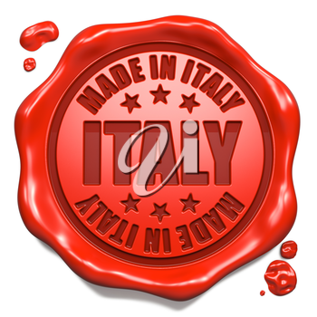 Made in Italy - Stamp on Red Wax Seal Isolated on White. Business Concept. 3D Render.