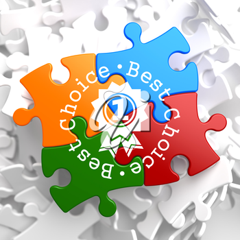 Best Choice Written Arround Icon of Award on Multicolor Puzzle. Business Concept.