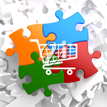 Icon of Shopping Cart on Multicolor Puzzle.