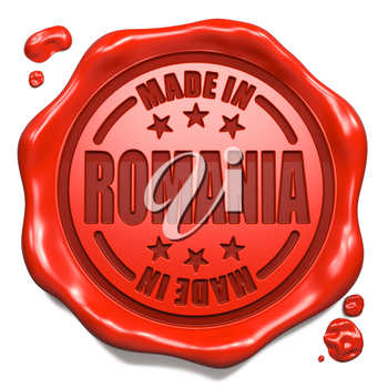 Made in Romania - Stamp on Red Wax Seal Isolated on White. Business Concept. 3D Render.