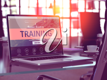 Training Concept. Closeup Landing Page on Laptop Screen  on background of Comfortable Working Place in Modern Office. Blurred, Toned Image. 3d Render.