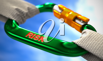 Green Carabine with White Ropes on Sky Background, Symbolizing the Risk. Selective Focus. 3d Render.