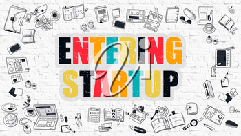 Entering Startup - Multicolor Concept with Doodle Icons Around on White Brick Wall Background. Modern Illustration with Elements of Doodle Design Style.
