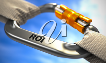 ROI - Return on Investment - on Chrome Carabine with White Ropes. Focus on the Carabine. 3d Render.