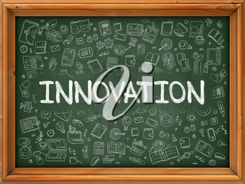 Innovation Concept. Modern Line Style Illustration. Innovation Handwritten on Green Chalkboard with Doodle Icons Around. Doodle Design Style of Innovation Concept. 3d Render.
