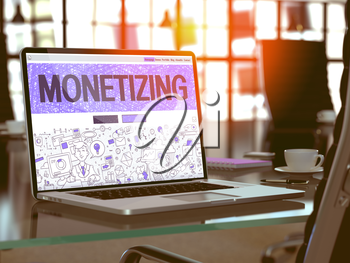 Monetizing Concept Closeup on Landing Page of Laptop Screen in Modern Office Workplace. Toned Image with Selective Focus. 3D Render.