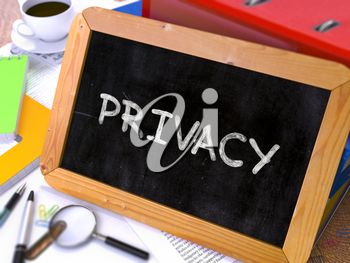 Hand Drawn Privacy Concept  on Chalkboard. Blurred Background. Toned Image. 3D Render.