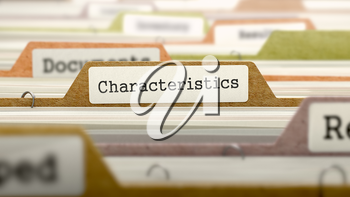 Characteristics Concept. Colored Document Folders Sorted for Catalog. Closeup View. Selective Focus. 3D Render.